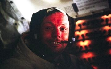 Neil Armstrong in Eagle, photographed by Buzz Aldrin