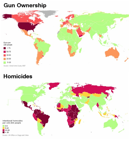 A map showing gun ownership and homicide rates, and which look very different