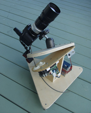 A camera mounted on a clever set of hinges to track the sky